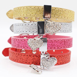 wholesale glitter products UK - wholesale 100pcs lot Glitter Leather Dog Cat Collar With Heart Shaped Tag Puppy Collar For Dogs Pet Products Free Shipping ZA6364