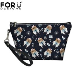 cute pouch bag UK - wholesale Nurse Bear Prints Cute Women Cosmetics Bags Makeup Pouch Travel Ladies Cosmetic Bag Organizer Make Up Bags Female