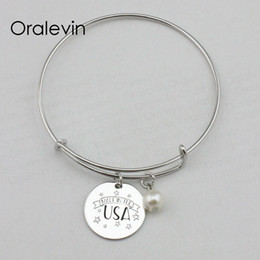 Discount made usa charm MADE IN THE USA Inspirational Hand Stamped Engraved Pendant Charm Expandable Bracelet Bangle Gift Metal Stamped Jewelry,