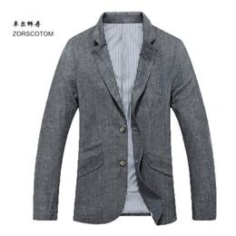 $enCountryForm.capitalKeyWord Canada - new arrival Linen autumn slim buckle suit men thin single outerwear business casual blazer plus size M L XL XXL 3XL 4XL 5XL