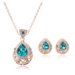 ruby crystal bridal necklace sets UK - Blue Crystal Jewelry Gold Plated Necklace Set Fashion Diamond Wedding Bridal Costume Jewelry Sets Party Ruby Jewelrys(Necklace + Earrings)