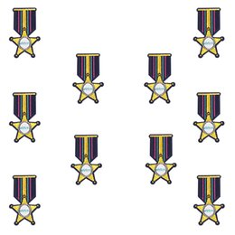 $enCountryForm.capitalKeyWord Canada - 10PCS Star Gold Badge Patches for Clothing Iron on Transfer Applique Embroidered Patch for Jacket Jeans Sewing Accessories Kids DIY