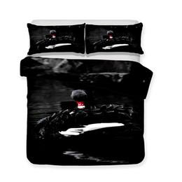 China Wholesale Black Swan Theme 3d Art Luxury 3pcs Bedding Set Colorful Print King Size Art Print Bed Sets cheap european bedding set luxury suppliers