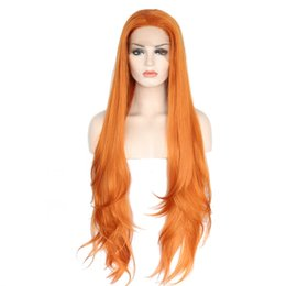 New wave loNg hair online shopping - Cosplay New Sexy Glueless High Temperature Fiber Natural Hair Fiber Wigs Layered Long Loose Wave Orange Synthetic Lace Front Wig For Women
