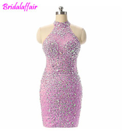$enCountryForm.capitalKeyWord UK - Sparkly Beads Crystal Women Dresses Cocktail Party Wear Gowns Knee Length Champagne Evening Dress short prom dress Special Occasions dress
