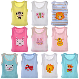 girls cotton undershirts 2019 - Baby tank tops sleeveless T-shirts undershirt cami shirts for toddler kids little boys girls pack of 5
