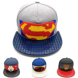 Superhero Cartoon Mosaics Brick Building blocks Iron Man Baseball Cap Flat-brimmed  Hat Hip-hop Hat wholesale Snapback Hats 3pcs 322ba0e687ea