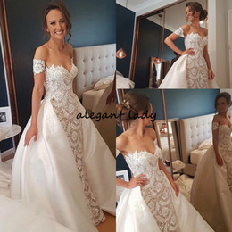 $enCountryForm.capitalKeyWord NZ - Romantic Wedding Dresses Detachable Skirt Sweetheart Full Length Lace Ivory Taffeta Bridal Gowns Beach Garden Corset Delicate Short Sleeve