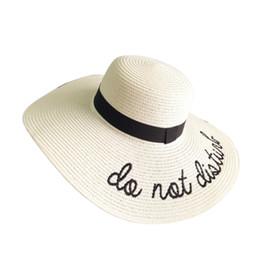 33ff353f Sun bucket online shopping - Women Embroidery Letters Floppy Bucket Summer  Straw Sun Hat Beach Cap