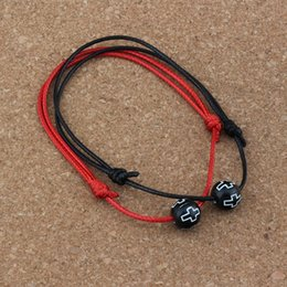 Bracelets Beads carved online shopping - 20PCS Hollow Cross Carved Acrylic Round Beads Adjustable kabbalah Korea Waxed Cotton Cord Bracelets red black B
