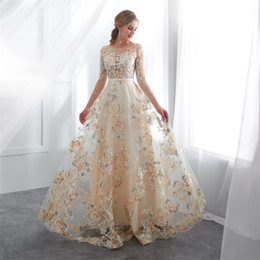 $enCountryForm.capitalKeyWord Australia - Real photos China embroidery Evening Dresses 3 4 long sleeves 2018 champagne jewel neck floor length Celebrity Gowns Pageant Party Gowns