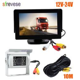 """Waterproof Backup Monitor NZ - 4.3"""" Car LCD Monitor + White Waterproof 18 LED IR Night Vision Reverse Parking Backup Camera Rear View Kit 10M cable 12V-24V"""