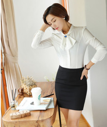 f152a221cc0ee0 New Styles 2018 Spring Women Suits with 2 Piece Skirt and Top Set Ladies  White Blouses Office Uniform Designs