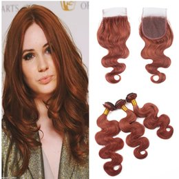 dark brown lace closure color Canada - Human Hair Weaves 33# Color Dark Auburn Body Wave Lace Closure With Bundles Brown Hair Extension With Lace Closure 4Pcs Lot