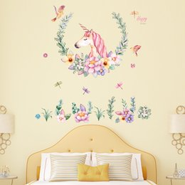 $enCountryForm.capitalKeyWord Australia - Beautiful Unicorn Flower Wall Sticker Quote Art DIY Decal Home Decor Kids Room Mural Party Supplies 60*90cm