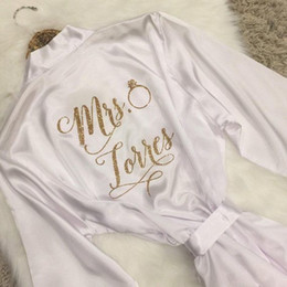 Personalized satin robes kimono wedding hen party bridesmaid gift for bride bridesmaids supplies 4pcs lot free shipping on Sale