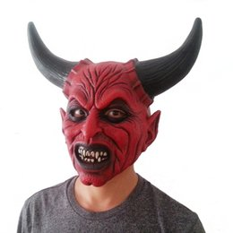 red devil mask UK - Hot Sale Scary Adult Costume Horn Zombie Mask Horror Party Cosplay Halloween Party Scary Horns Red Devil Mask for Party Cosplay