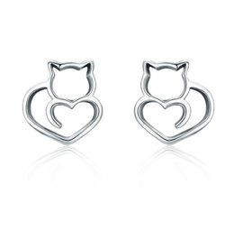 f19ef42a3 Hot Sale Authentic 925 Sterling Silver Cute Cat Small Stud Earrings for  Women Fashion Sterling Silver Jewelry