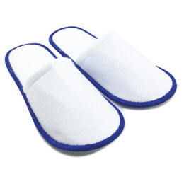 $enCountryForm.capitalKeyWord Australia - 20 Pairs Of White Towelling Hotel Disposable Slippers Terry Spa Guest Shoes Blue Home Indoor Slipper
