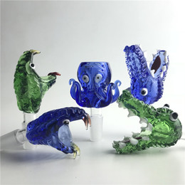 Types animals online shopping - 14mm mm Animal Bowl with Thick Pyrex Colorful Green Blue Snake Octopus Crocodile Bong Bowls for Glass Water Pipes Herb Tobacco Smoking