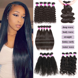 Wholesale Sample Hair A Unprocessed Virgin Brazilian Hair Peruvian Body Straight Deep Water Curly Human Hair Weaves Bundles Or pieces inches