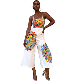 Discount african jumpsuits - Traditional African Print Jumpsuit Women Sleeveless Bow Tie Up Back Ethnic Dashiki Sexy Romper Ladies Wide Leg Jumpsuit
