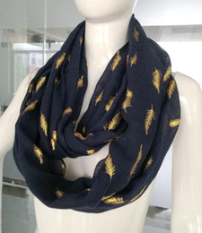 White Scarves Wholesale Canada - Metallic Gold Feather Print Women's Infinity Loop Scarf Snood Soft Lightweight ring scarf for women Pink Navy white Scarves wholesale
