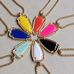 $enCountryForm.capitalKeyWord Australia - Fashion Gold Plated Candy Color Geometry Arrow Shaped Resin Pendant Necklace For Women MICHAEL KENDRA Jewelry