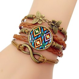 Native American Charms Australia - Handmade Knitted Leather bracelet Colorful Native American Art Vintage Jewelry Multilayer Glass convex combinatio