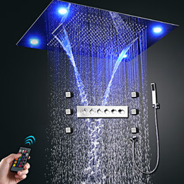 concealed shower set Australia - Hotel LED Multifunctional Shower Head Set 600x800mm Large Concealed TOP Rain Waterfall High flow Diverter Valve System