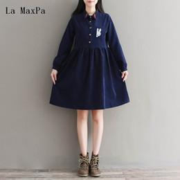 Discount clothing sizes japan - Spring Autumn Women Clothing Preppy Vintage Long Sleeve Cartoon Rabbit Embroidery Plus Size Corduroy Dress Japan Mori Gi