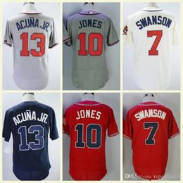 New Atlanta Jersey Ozzie Albies Ronald Acuna Jr . Jersey Dansby Swanson  Freddie Freeman Chipper Jones Flex Base Cool Base Baseball d640723f3