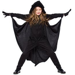 aa9806549dc1 Unisex Teenage Halloween Bat Costume Kid Carnival Stage Performance Outfit  Black Vampire Fancy Dress Animal Uniform for Child