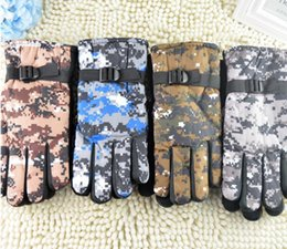 Discount winter golf mittens - camo gloves Autumn Winter Gloves Full Finger Army Military Gloves Tactical for Men Black Camo Latex Guantes Mittens