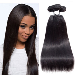 nature human hair inches Canada - 8A Indian Straight Hair 3 or 4 Bundles Unprocessed Brazillian Peruvian Malaysian Straight Hair Remy Human Hair Extensions Nature Color