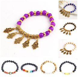 Reiki Healing Wholesalers Australia - Charms Bracelets Muti-color Mens Bracelets Lava 7 Chakra Healing Balance Beads Bracelet For Women Reiki Prayer Yoga Stones Bead Bracelets
