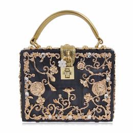 $enCountryForm.capitalKeyWord NZ - Luxury Box shape Tote Women Handbag Brand Acrylic Relief Black Evening Clutch Bag Ladies Prom Party Purse Shoulder Bag