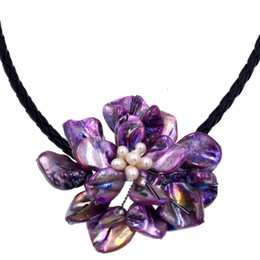 $enCountryForm.capitalKeyWord UK - Free Shipping NEW!! White Freshwater Pearl Lilac Purple Shell Flower Pendant Necklace Female Vintage Jewelry