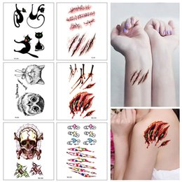 cosplay tattoo UK - 6pcs Halloween Cosplay Body Makeup Tattoos Halloween Terror Wound Realistic Blood Injury Scar Tattoo Sticker Tattoo Stickers