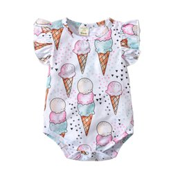 Wholesale Baby boy girl INS triangle rompers new Children ins Ice cream cake Flying sleeves rompers baby clothes B001