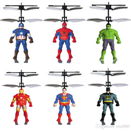 Helicopter toy sensor online shopping - RC Helicopter RC infrared Induction Captain America Hulk Spider Man aircraft RC flying ball flying toys kids copter toys Led sensor toys