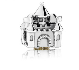Chinese  Free Ship 100pcs Silver Charm Diy Loose Beads Castle Jewelry Marking Charms Beads Fit European Style Pandora Bracelet & Necklace Women Gifts manufacturers