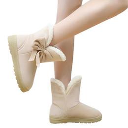 Discount fur platforms - Bowtie Women Ankle Snow Boots Winter Female Two Ways Flat Cute Fur Warm Plush Suede Rubber Slip On Fashion Platform Shoe