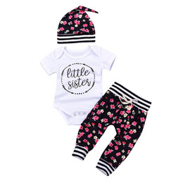 Chinese  cool fashion Girls Little sister Rompers Baby Flower printed Rompers infants Jumpsuits long Pants Hat 3pcs set Newborn Clothing Sets manufacturers