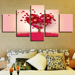 $enCountryForm.capitalKeyWord NZ - Modern Abstract Red Heart Shape Tree Canvas Painting 5 Panel No Frame Wall Art Picture Home Decor Lover Gift