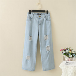 legging destroyed 2019 - Jeans Wide Leg Pants Womens Destroyed Jeans Denim Trousers Ripped High Waist Big Size Loose Style 30-44 Light Blue Top Q