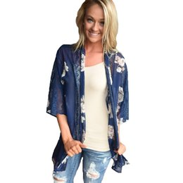 fba80c00b86ff Women Chiffon Kimono Cardigan Floral Print Hollow Out Robe De Plage Loose  Outerwear Beachwear Beachi Cover Up XL Pareo