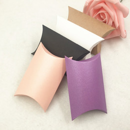 small handmade gifts 2019 - 50pcs Paper Small Pillow Chocolate Boxes  DIY Handmade gift candy earring storage Wedding Favour Boxes cheap small handm