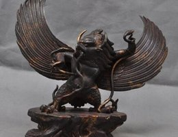 $enCountryForm.capitalKeyWord Australia - Old Tibet Tantra Buddhism Bronze Eagle Redpoll King Bird Garuda Buddha Statue A