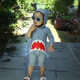Boy Swimwear Piece Canada - Children Swimsuit Baby Boy Summer Swimwear Infant Baby Bathing Suit Swimming Pool Clothing Animal Sharks 3M To 24M Swimsuit One Piece
